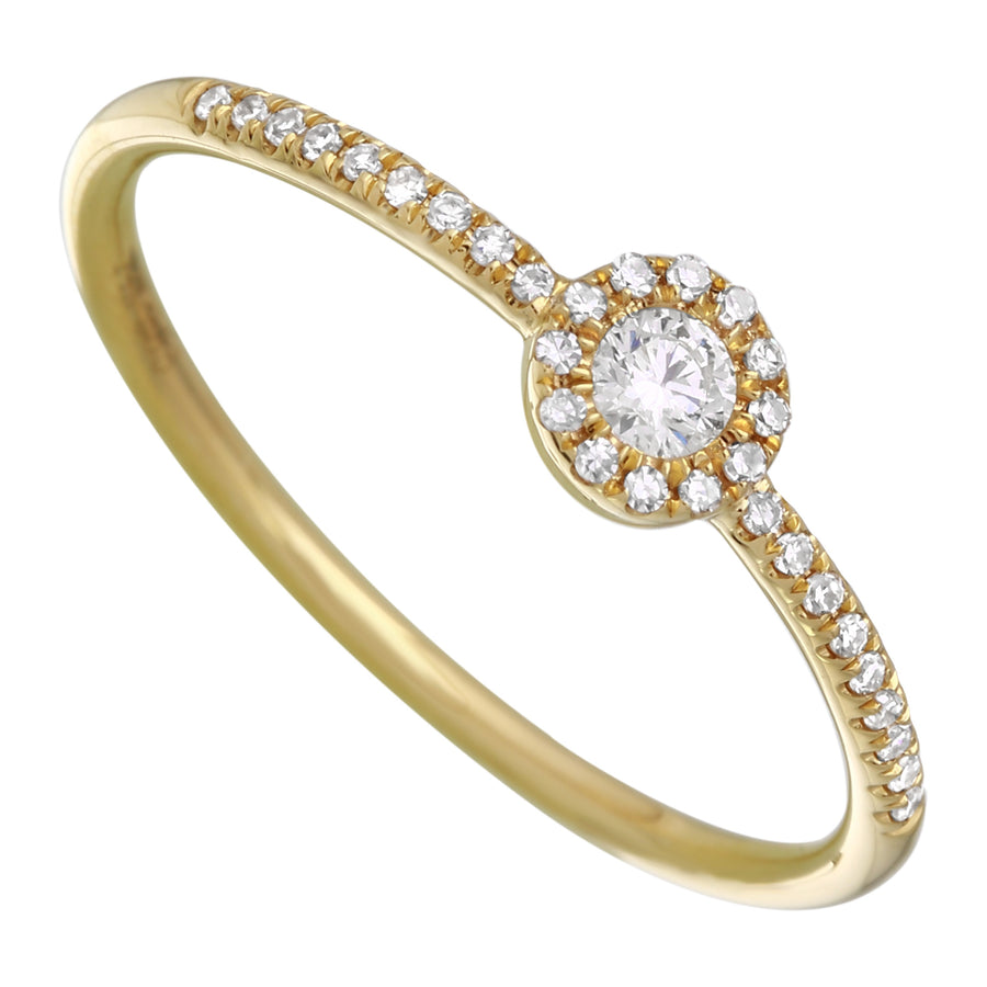 14k Yellow Gold Diamond Pave Band Halo Ring (1/10 cttw, I-J Color, I1-I2 Clarity)