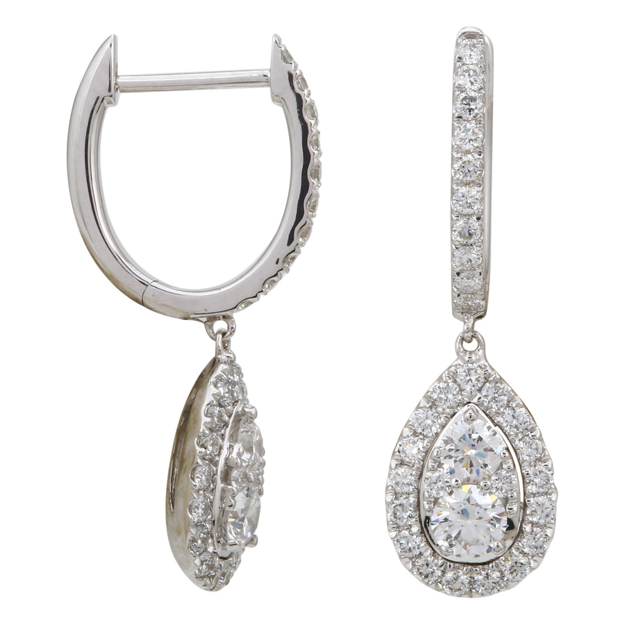 14k White Gold ECOMARK® Created Diamond Drop Pear Hoop Earrings (9/10 cttw, E-F, VS2-SI1), 7.5mm
