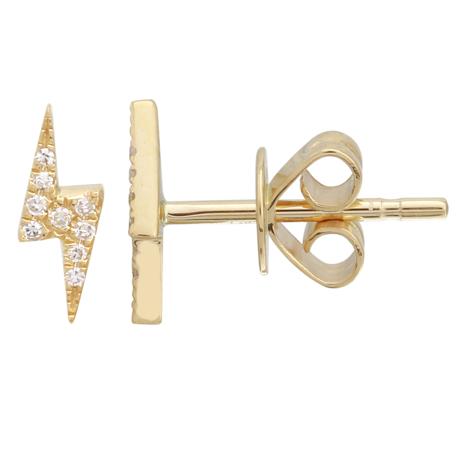 14k Yellow Gold Diamond Accent Bolt Stud Earrings (0.04 cttw, H-I Color, I1-I2 Clarity)