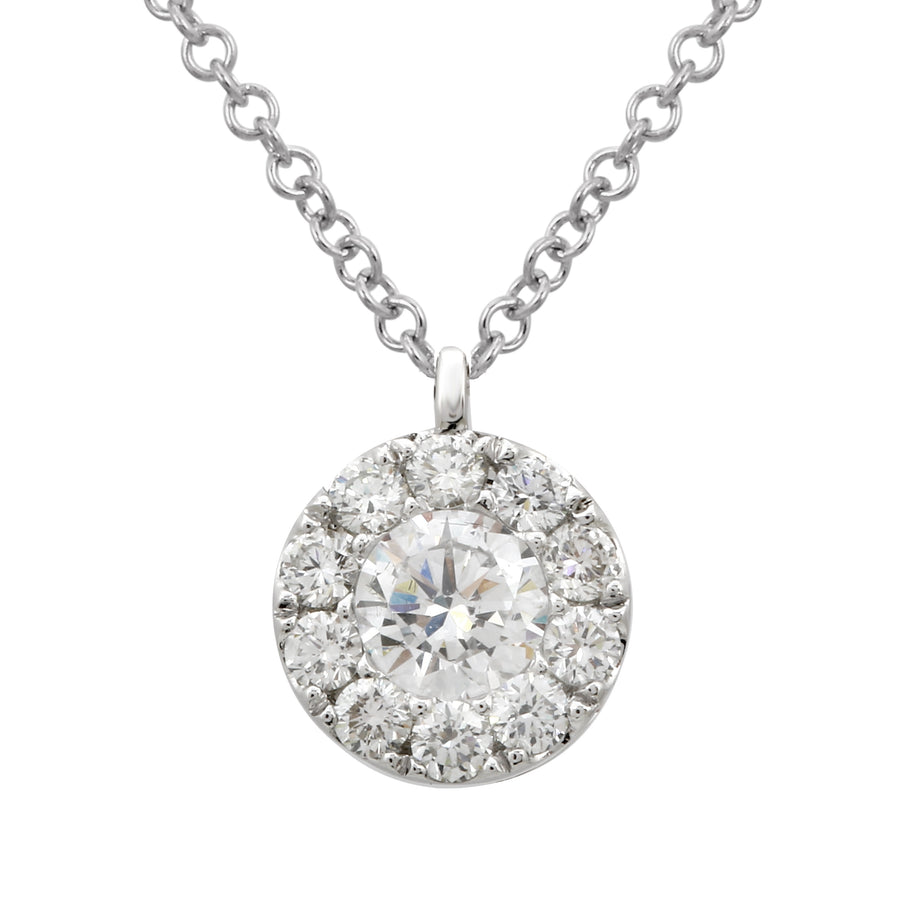 14k White Gold ECOMARK® Created Diamond Halo Pendant Necklace (3/4 cttw, E-F Color, VS2-SI1), 16-18