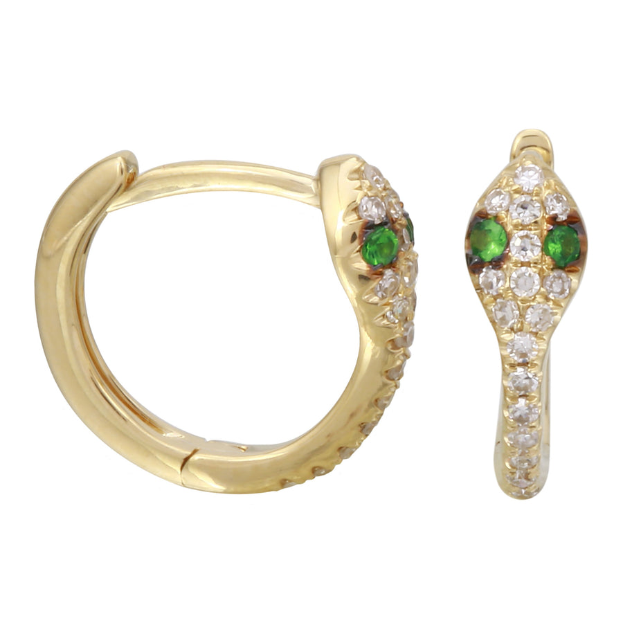 14k Yellow Gold Diamond Tsavorite Snake Hoop Earrings (1/10 cttw, H-I, I1-I2), 12mm Diameter