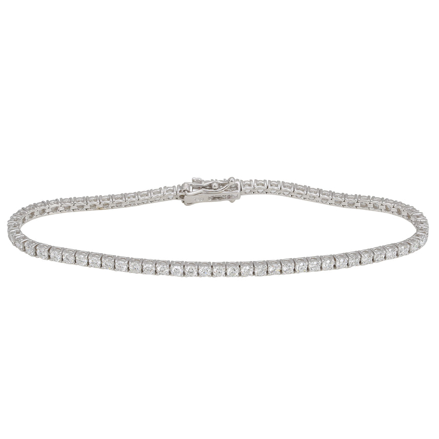 18k White Gold ECOMARK® Created Diamond Tennis Bracelet (4.0 cttw, E-F Color, VS2-SI1 Clarity), 7