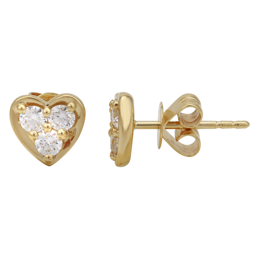 14k Yellow Gold ECOMARK® Created Diamond Heart Stud Earrings (3/8 cttw, E-F Color, VS2-SI1)