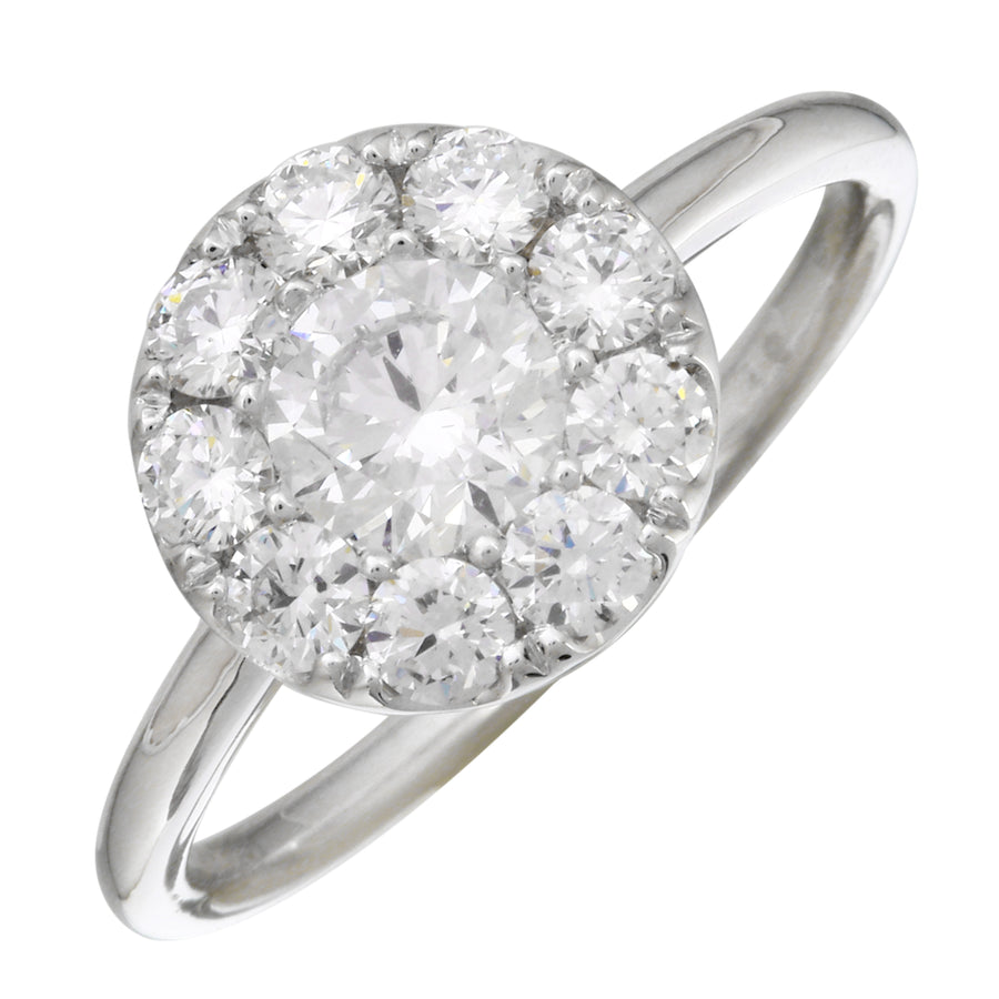 14k White Gold ECOMARK® Created Diamond Halo Engagement Ring (1.15 cttw, E-F Color, VS2-SI1)