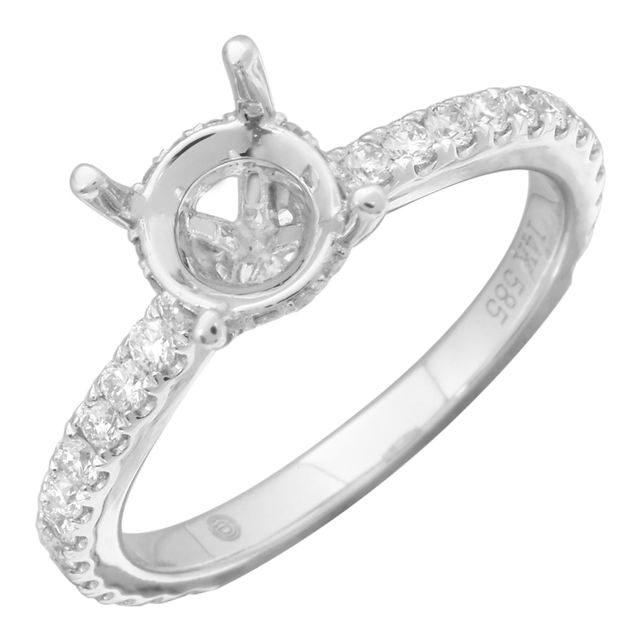 14k White Gold ECOMARK® Created Diamond Semi-Mount Engagement Ring (1/2 cttw, E-F Color, VS2-SI1)