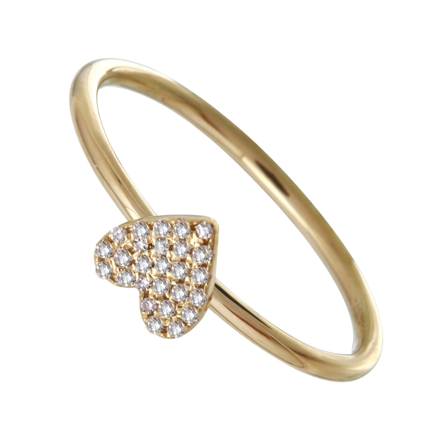 14k Yellow Gold Diamond Pave Flat Heart Ring (0.05 cttw, H-I Color, I1-I2 Clarity)