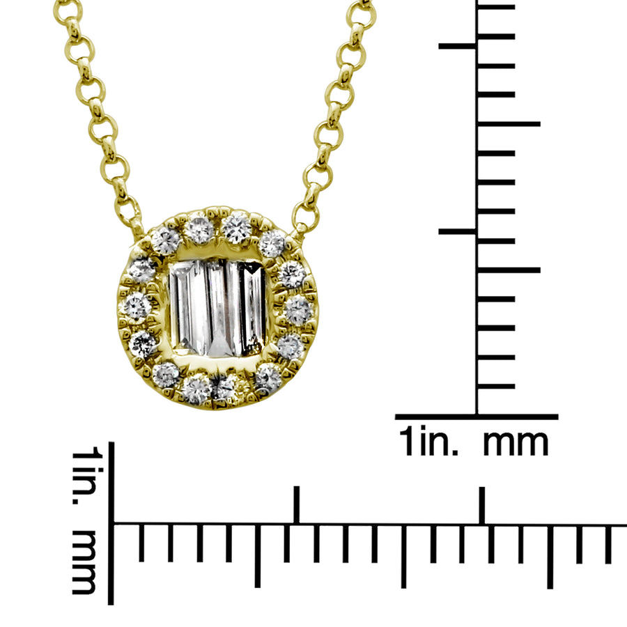 14k Yellow Gold Diamond Accent Disc Pendant Necklace (1/6 cttw, H-I Color, I1-I2 Clarity), 16+2