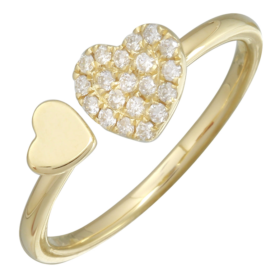 14k Yellow Gold Diamond Pave Double Heart Open Ring (1/10 cttw, I-J Color, I2-I3 Clarity)