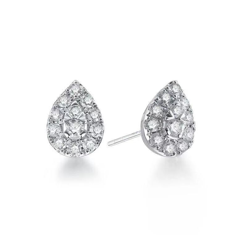REEMARK™ 18k White Gold Diamond Pave Pear Stud Earrings (1/2 cttw, I-J Color, I1-I2 Clarity)