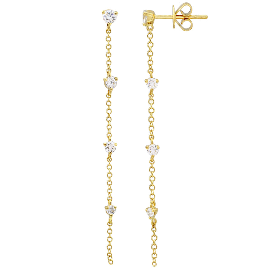 14k Yellow Gold Lab Created Diamond Long Dangle Stud Earrings (1/2 cttw, E-F, VS2-SI1)