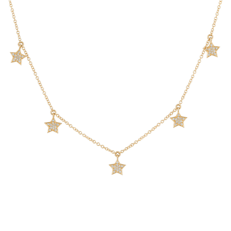 14k Yellow Gold Diamond Star Charms Pendant Necklace (1/8 cttw, H-I Color, I2-I3 Clarity), 16+2