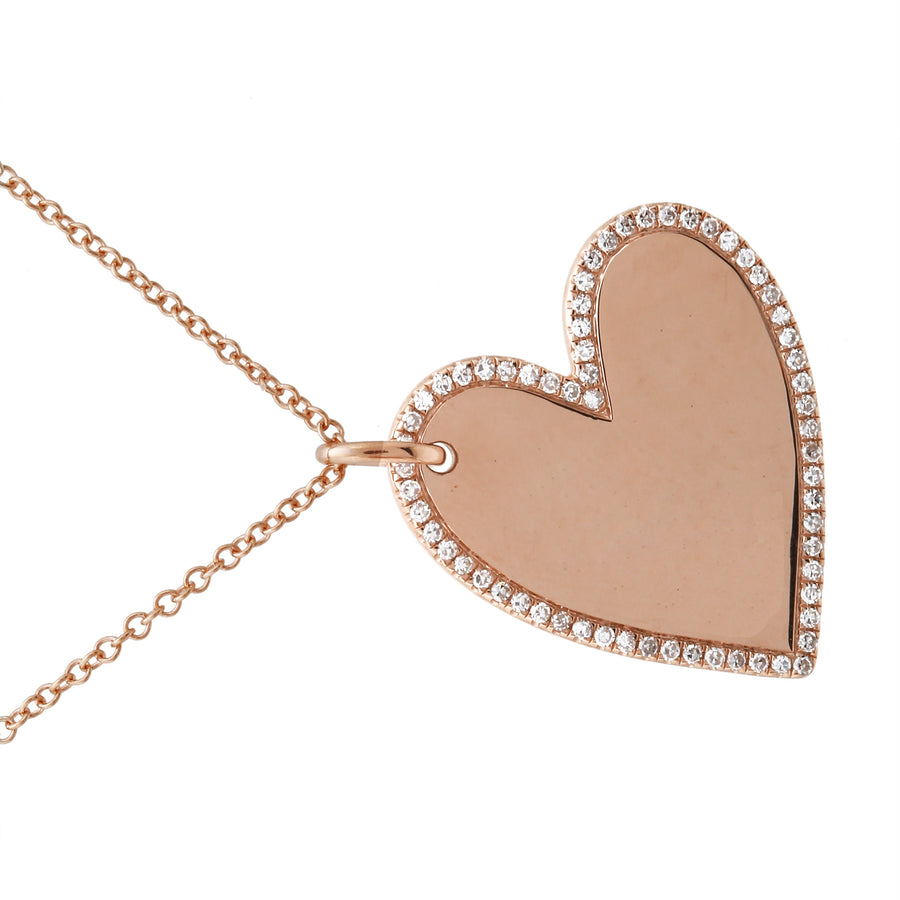 14k Rose Gold Diamond Pave Sideways Heart Pendant Necklace (1/5 cttw, H-I, I1-I2), 16+2