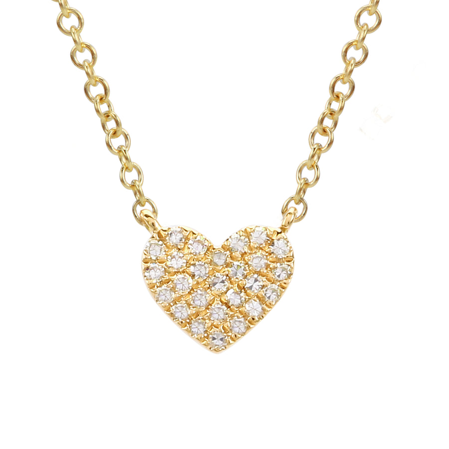14k Yellow Gold Diamond Cute Heart Charm Pendant Necklace (1/20 cttw), 16+2