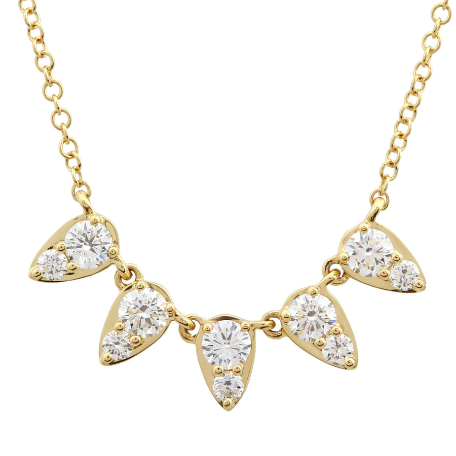 14k Yellow Gold Lab Created Diamond 5 Pear Pendant Necklace (1/2 cttw, E-F, VS2-SI1), 16+2