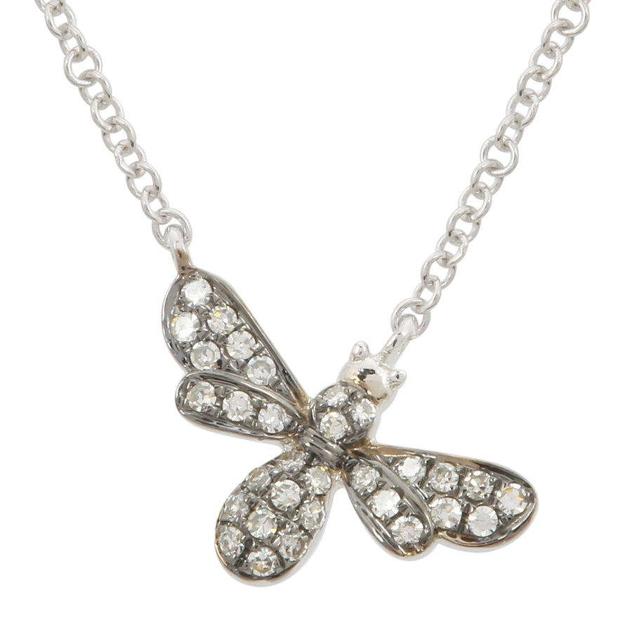 14k Gold Diamond Pave Floating Bee Pendant Necklace, 16+2