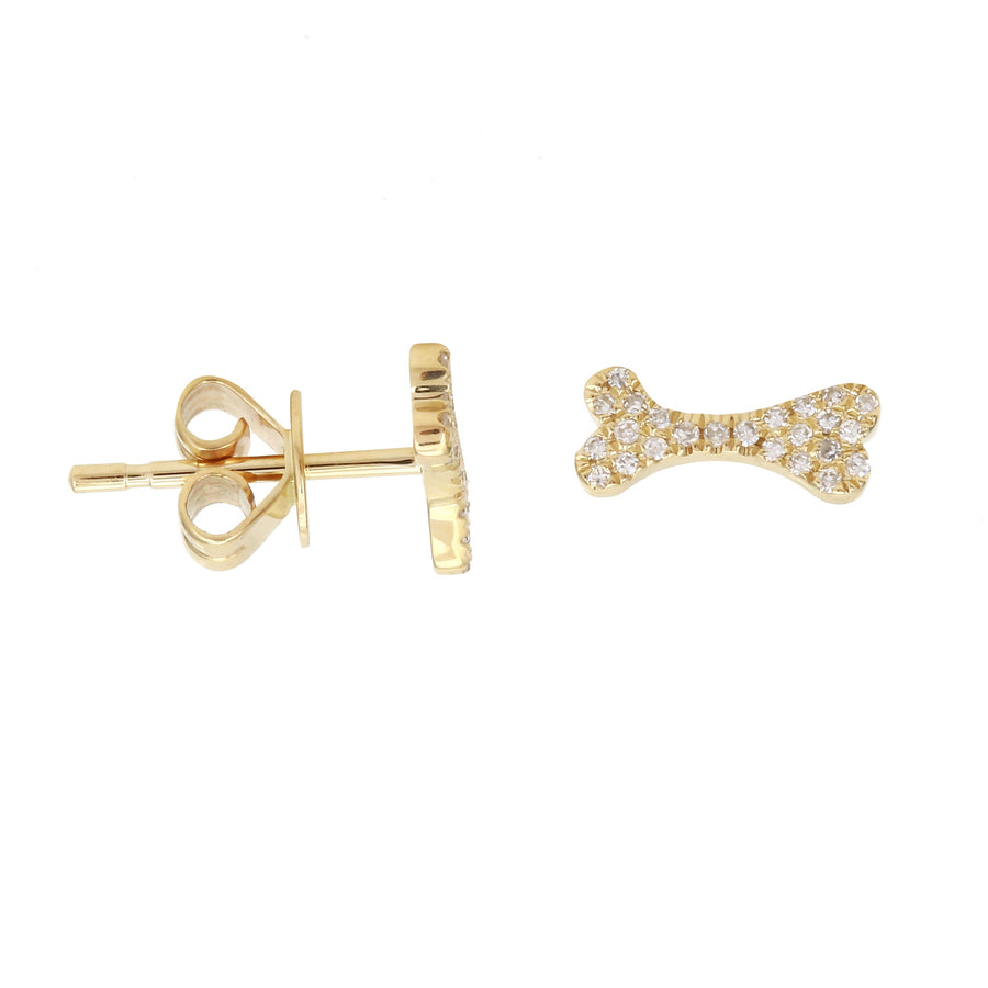 14k Yellow Gold Diamond Accent Pave Dog Bone Stud Earrings (1/10 cttw, H-I Color, I2-I3 Clarity)