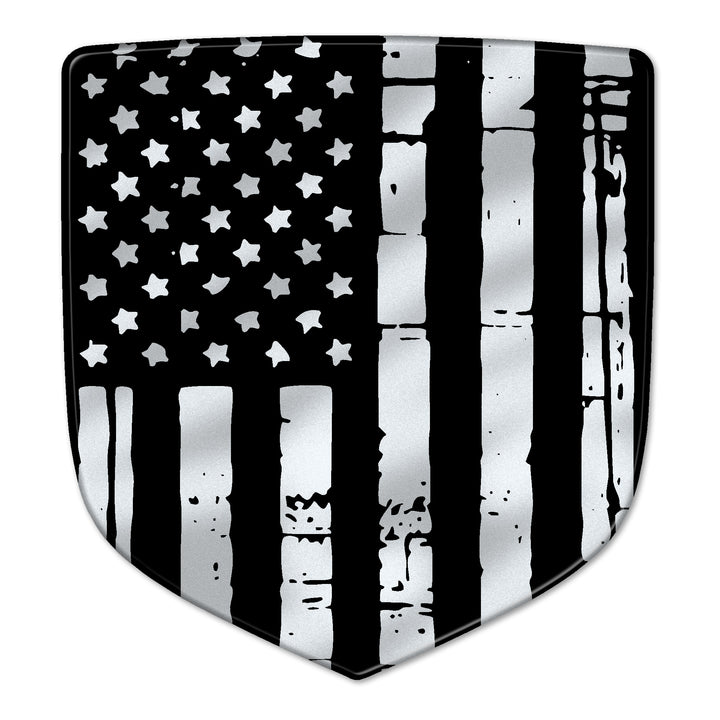 """Grayscale Distressed Flag"" Ram Shield Badges"