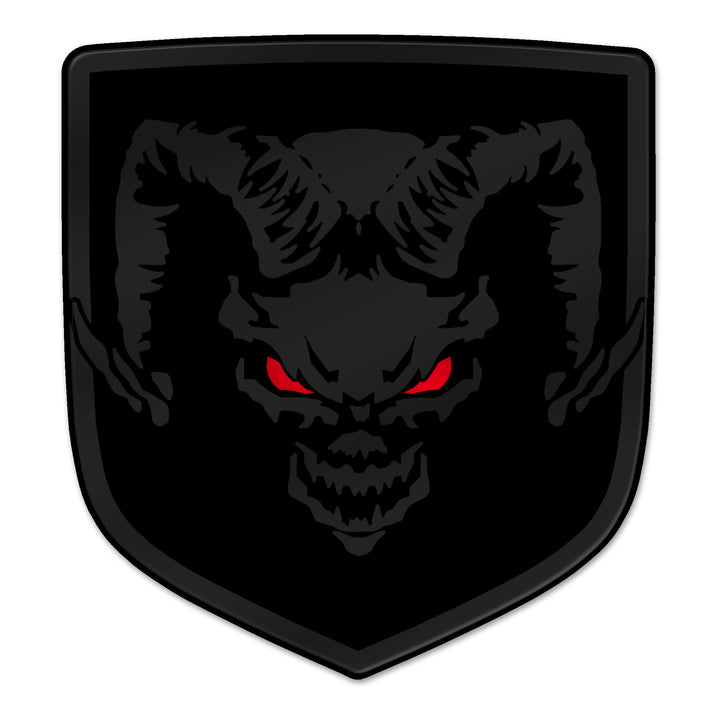 "Matte Black ""Devil Ram"" Shield Badges"