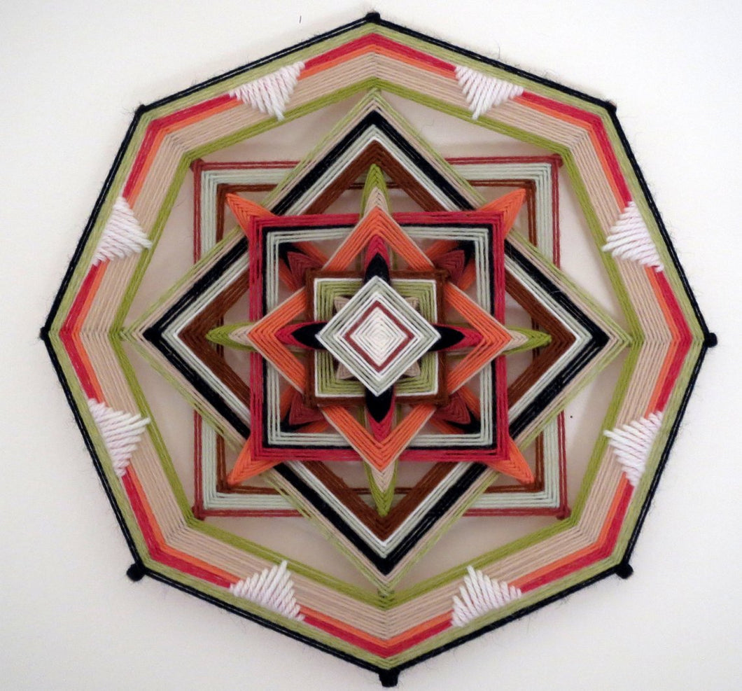 Coral Gem, a 12 inch, 8-sided Ojo de Dios, by custom order