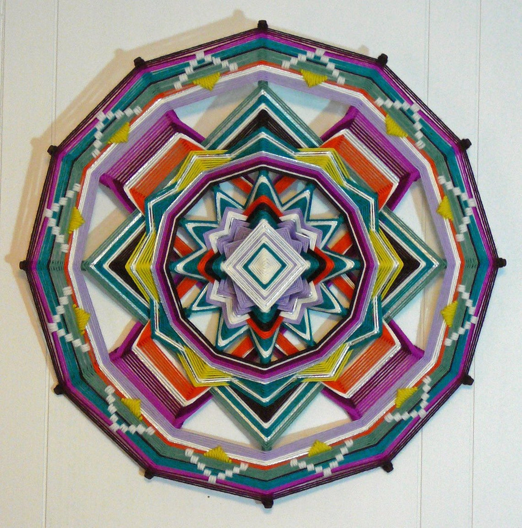 Open Mind Open Heart, an 18 inch, 12-sided, Ojo de Dios, by custom order