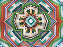 Load image into Gallery viewer, Subtle forest awakening, a 24 inch, 12-sided, Ojo de Dios Mandala, InStock, Inga