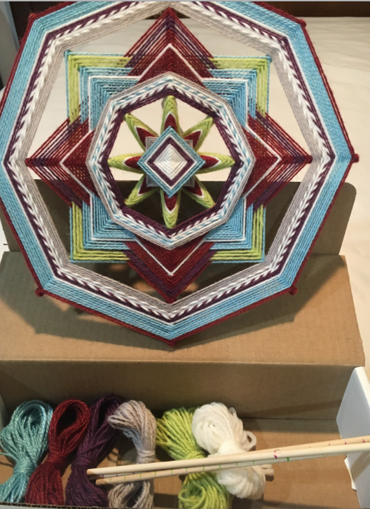 Little Gem Kit! Kit! Includes Sticks, Yarn, and Downloadable Instructions. Kit for making one 8-sided, 12-inch Mandalas called Little Gem