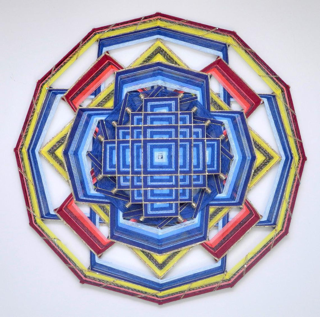Love Song, a 30 inch Mandala, with a Tibetan mandala design overlayed on the center, by Inga Savage
