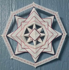 Pink Inversion Kit! Includes Sticks, Yarn, and Downloadable Instructions. Kit for making one 8-sided, 12-inch Mandala Pink Inversion