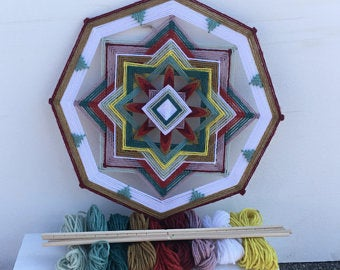 Ojos De Dios Kit and Directions for making One Golden Way Mandala  12 Inch