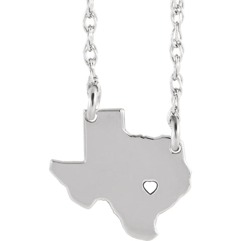 State of Texas with Heart Pierced City Necklace Rhodium-Plated Sterling Silver
