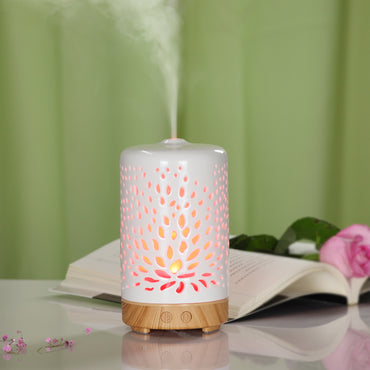 Naturalis Essence of Nature Ceramic Body Elegant Lotus Design Cool Mist Ultrasonic Humidifier Aroma Diffuser with Top 5 Natural Essential Oil - Naturalis