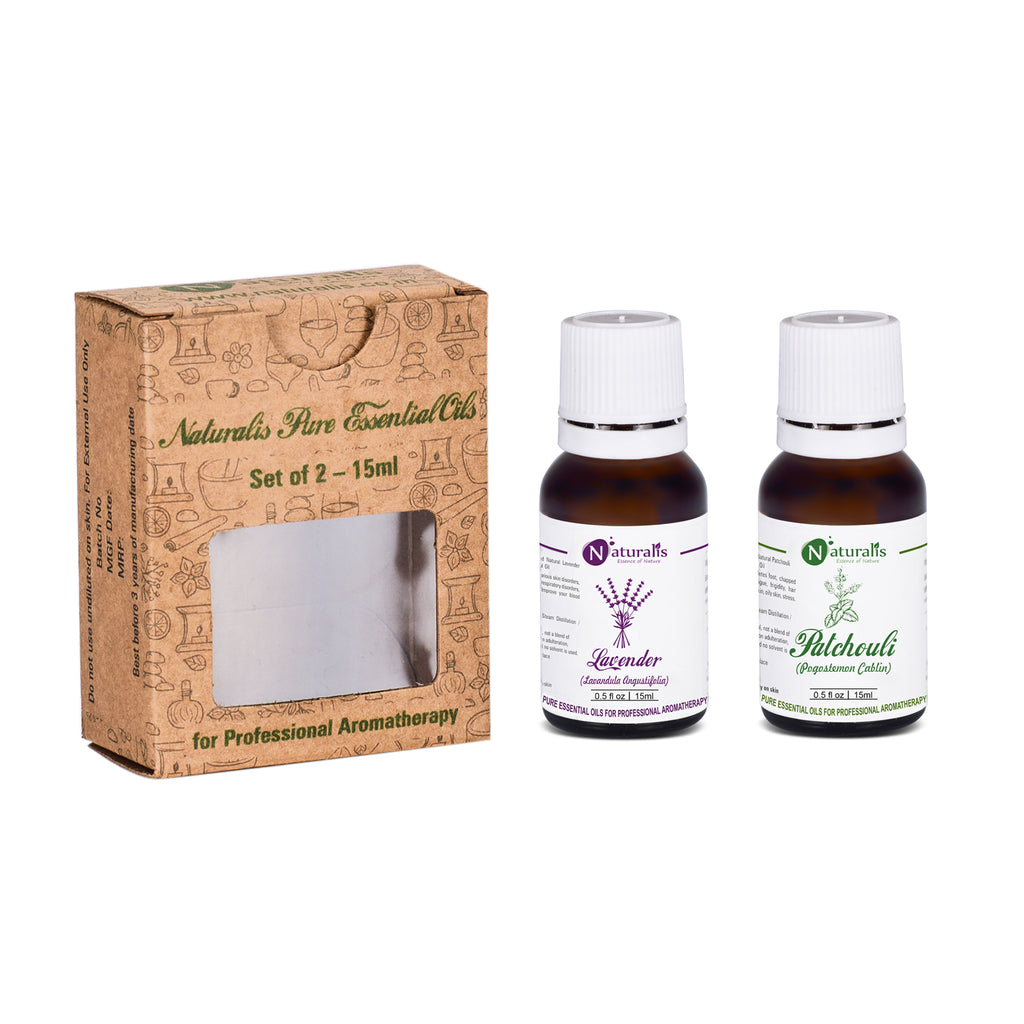 Lavender & Patchouli Essential Oil Set Of 2 for Skin Care by Naturalis - Pure & Natural - Naturalis