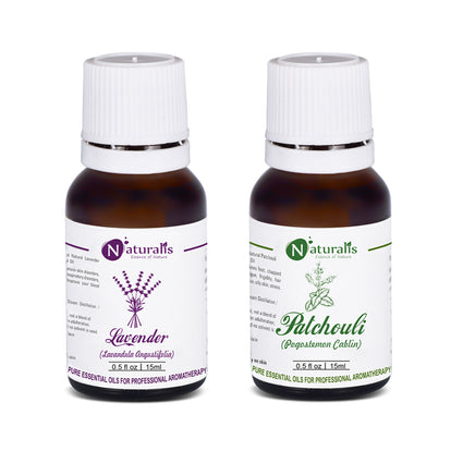 Lavender & Patchouli Essential Oil Set Of 2 for Skin Care by Naturalis - Pure & Natural