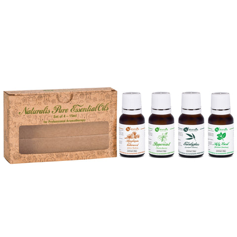 Naturalis 15ml Essential Oil Gift Pack Of 4 for Health Care (Cedarwood Oil, Peppermint Oil, Eucalyptus Oil, Holy Basil Oil)