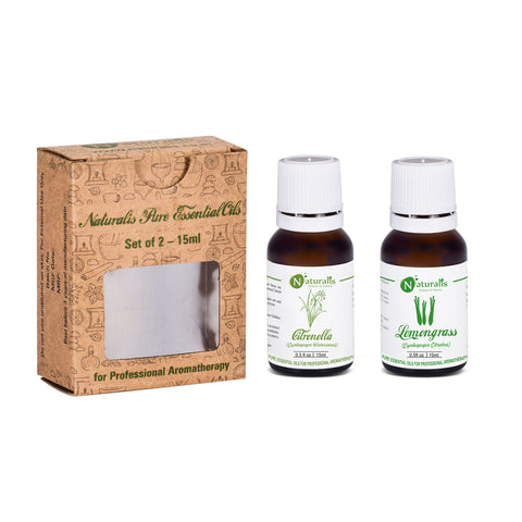 Citronella & Lemongrass Essential Oil for Insect/Mosquito Repellent Set of 2, 15ml by Naturalis - Pure & Natural - Naturalis