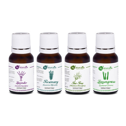 Multipurpose Essential Oil Set Of 4 by Naturalis (Lavender Oil, Rosemary Oil, Tea Tree Oil, Lemongrass Oil) - Pure & Natural - Naturalis