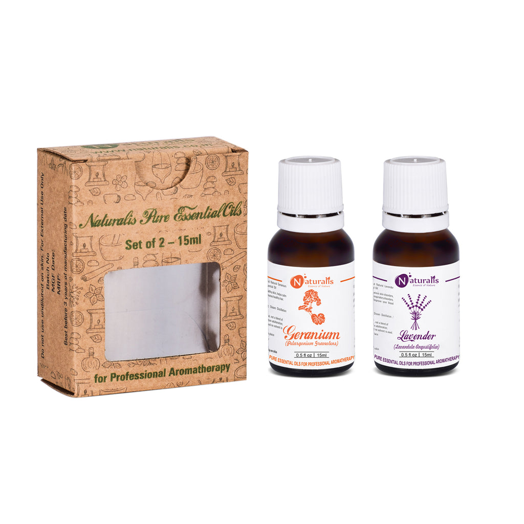 Lavender and Geranium Essential Oil Set of 2-15mlby Naturalis - Pure & Natural