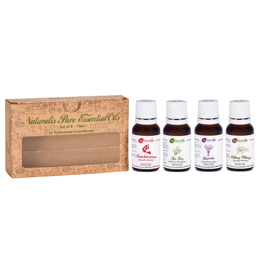 Skin Care Essential Oil Set of 4 by Naturalis (Frankincense Oil, Tea Tree Oil, Lavender Oil, Ylang Ylang Oil) - Pure & Natural