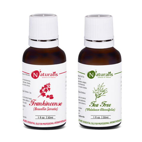 Tea Tree Essential Oil, Frankincense Essential Oil Pack Of 2 for Skin Care by Naturalis - Pure &Natural - Naturalis
