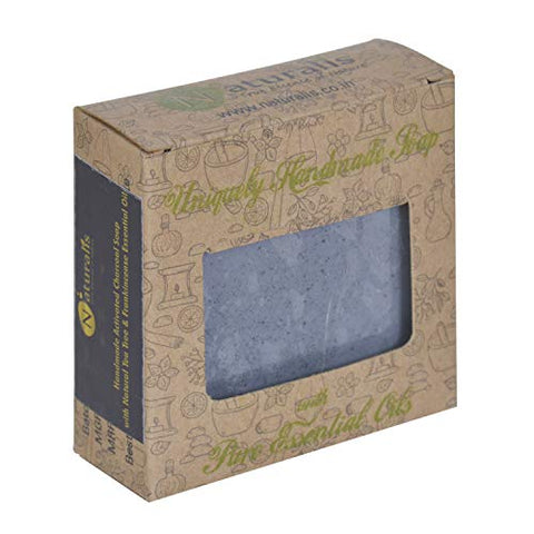 Naturalis Handmade Charcoal Soap with Natural Frankincense and Tea Tree Essential Oil Antibacterial and Antifungal, Whitening and Anti-Aging