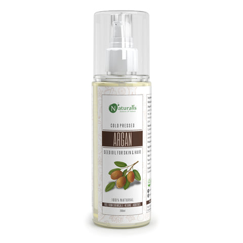 Argan Oil, Moroccan Cold Pressed Carrier Oil for for Hair, Skin & Anti-Ageing Face Care - 200ml - Naturalis