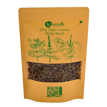 Naturalis Sun Dried Krishna Tulsi (Holy Basil) leaves granules for Tea, Kadha & Cooking - 80gms - Naturalis