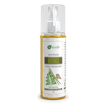 Moringa Cold Pressed Carrier Oil for For Hair, Skin & Anti-Ageing Face Care, 200ml - Naturalis