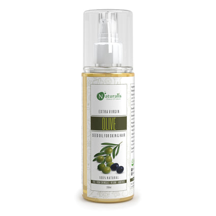 Cold Pressed Extra Virgin Olive Carrier Oil For Hair, Skin, Face and Massage 200ml - Naturalis