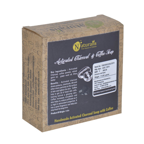Handmade Soap with Natural Essential Oil Pack of Five - Orange, Lemon, Tea Tree/frankincense/Charcoal , Neem, Charcoal&Cofee - Naturalis