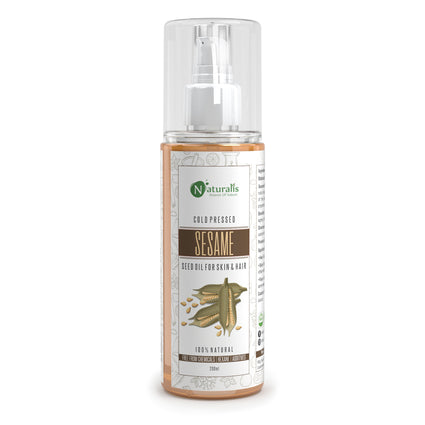 Cold Pressed Sesame Seed Carrier Oil For Hair, Body, Skin Care, Massage, 200ml - Naturalis