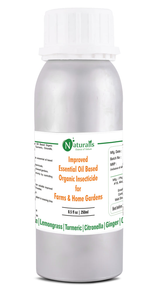 Naturalis New Improved Essential Oil Based Organic Insecticide (Neem, Lemongrass, Citronella, Turmeric) Farms & Home Gardens