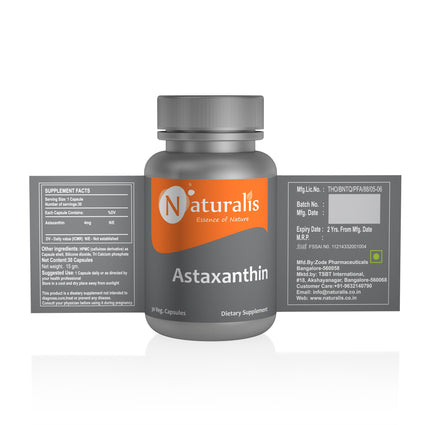 Naturalis Essence of Nature Astaxanthin 4mg (For healthy skin and eyes) – 30 Veg capsules - Naturalis