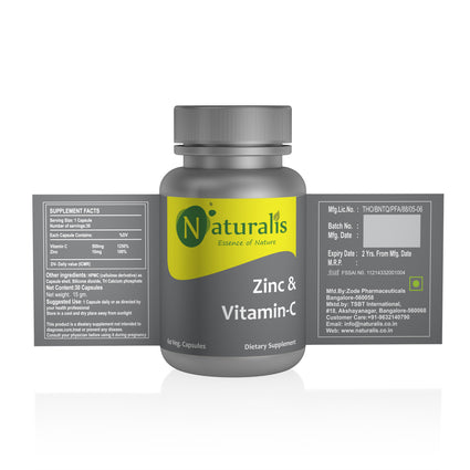 Naturalis Essence of Nature Vitamin C 500mg with zinc 10mg (For Immunity antioxidant skincare) – 60 Veg capsules
