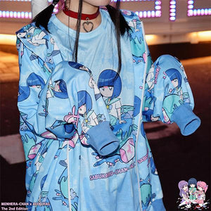 ACDC RAG X Menhera-Chan Blue Blood Sub Culture Hooded Jacket - plushiepink